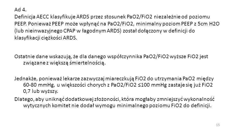 Ad 4. Definicja AECC klasyfikuje ARDS przez stosunek PaO2/FiO2 niezależnie od poziomu PEEP. Ponieważ PEEP może wpłynąć na PaO2/FiO2, minimalny poziom