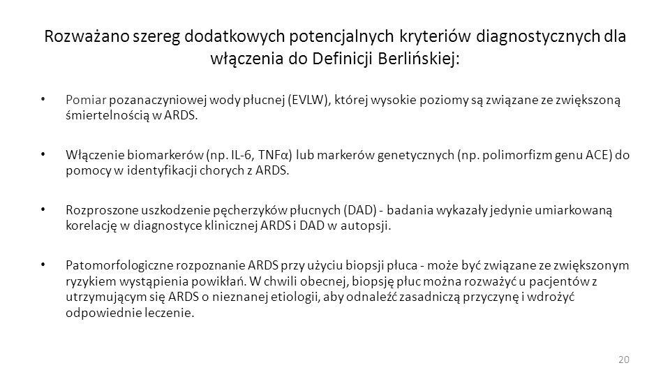 Rozważano szereg dodatkowych potencjalnych kryteriów diagnostycznych dla włączenia do Definicji Berlińskiej: Pomiar pozanaczyniowej wody płucnej (EVLW