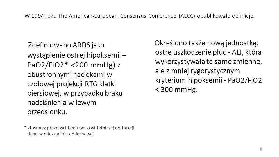 W 1994 roku The American-European Consensus Conference (AECC) opublikowało definicję. Zdefiniowano ARDS jako wystąpienie ostrej hipoksemii – PaO2/FiO2