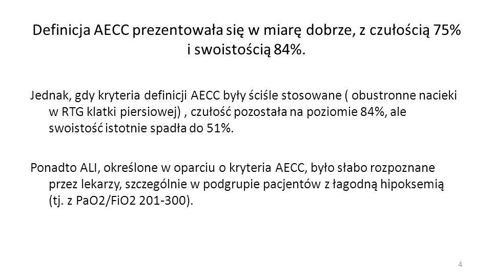 Definicja AECC prezentowała się w miarę dobrze, z czułością 75% i swoistością 84%. Jednak, gdy kryteria definicji AECC były ściśle stosowane ( obustro