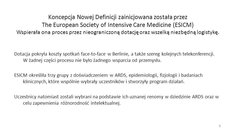 Koncepcja Nowej Definicji zainicjowana została przez The European Society of Intensive Care Medicine (ESICM) Wspierała ona proces przez nieograniczoną