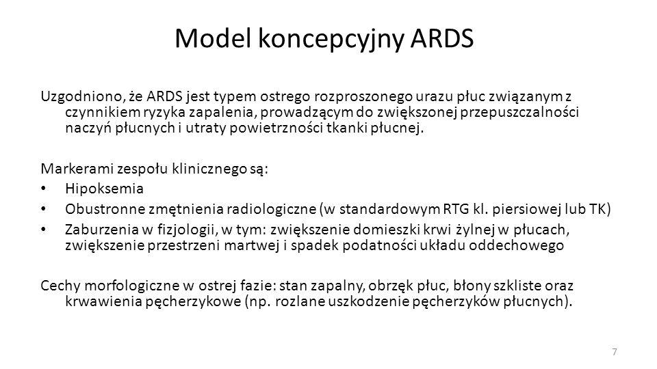 Model koncepcyjny ARDS Uzgodniono, że ARDS jest typem ostrego rozproszonego urazu płuc związanym z czynnikiem ryzyka zapalenia, prowadzącym do zwiększ