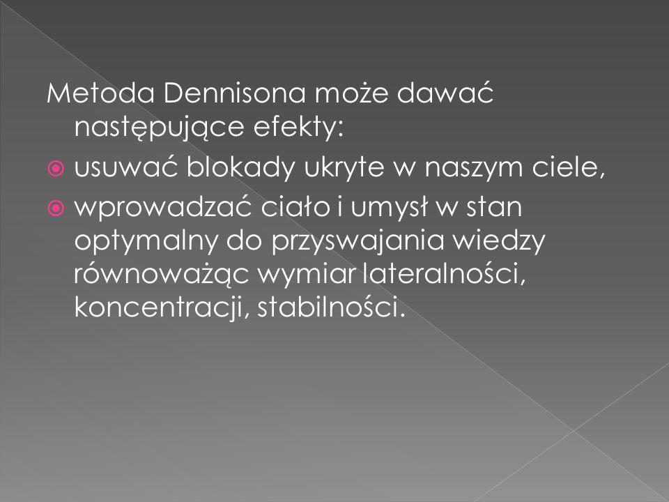 Metoda Dennisona może dawać następujące efekty: usuwać blokady ukryte w naszym ciele, wprowadzać ciało i umysł w stan optymalny do przyswajania wiedzy