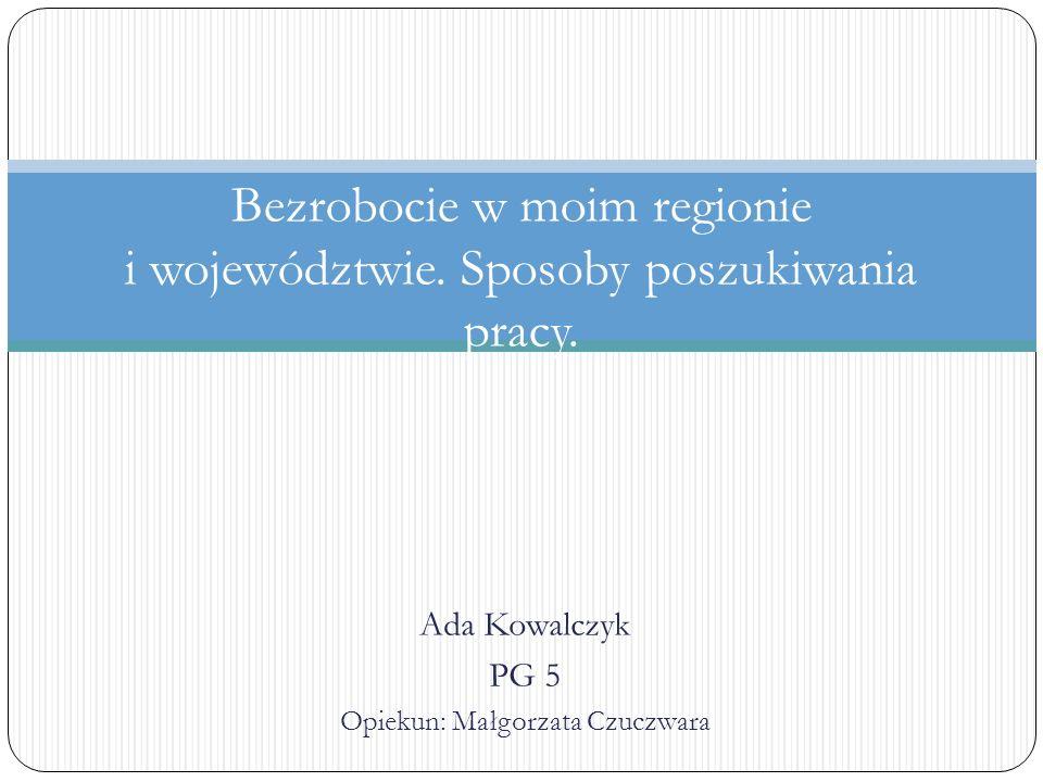 Ada Kowalczyk PG 5 Opiekun: Małgorzata Czuczwara Bezrobocie w moim regionie i województwie. Sposoby poszukiwania pracy.