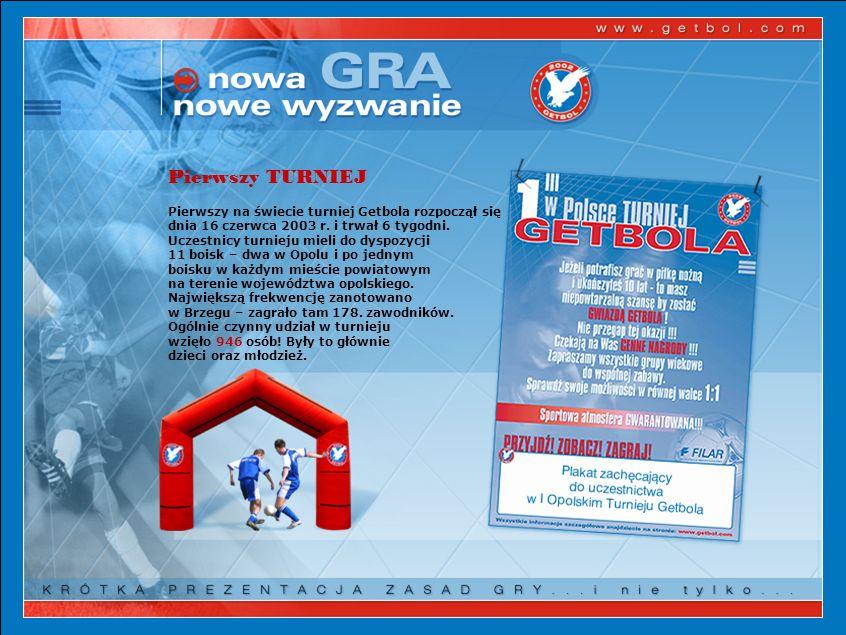 Pierwszy TURNIEJ Pierwszy na świecie turniej Getbola rozpoczął się dnia 16 czerwca 2003 r. i trwał 6 tygodni. Uczestnicy turnieju mieli do dyspozycji