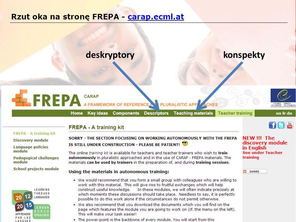Rzut oka na stronę FREPA - carap.ecml.atcarap.ecml.at deskryptorykonspekty