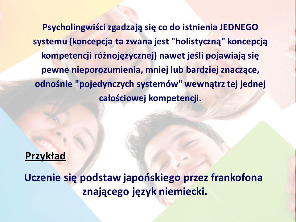 Psycholingwiści zgadzają się co do istnienia JEDNEGO systemu (koncepcja ta zwana jest