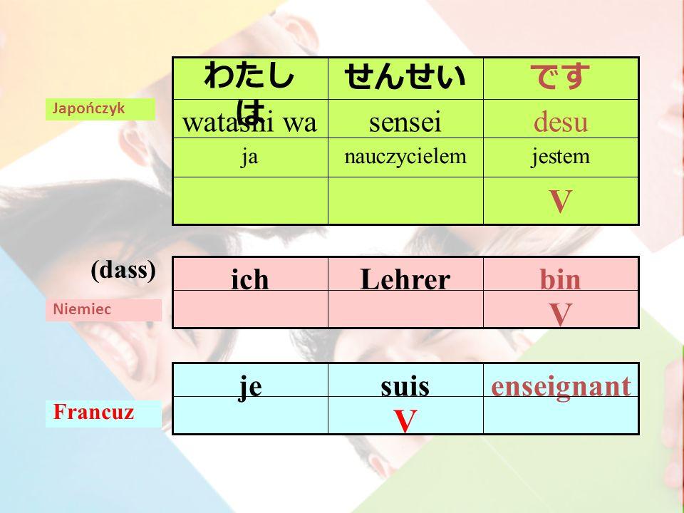 V binLehrerich Niemiec (dass) V enseignantsuisje Francuz Japończyk V jestemnauczycielemja desusenseiwatashi wa