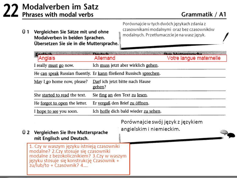 Porównajcie w tych dwóch językach zdania z czasownikami modalnymi oraz bez czasowników modalnych. Przetłumaczcie je na wasz język. Porównajcie swój ję