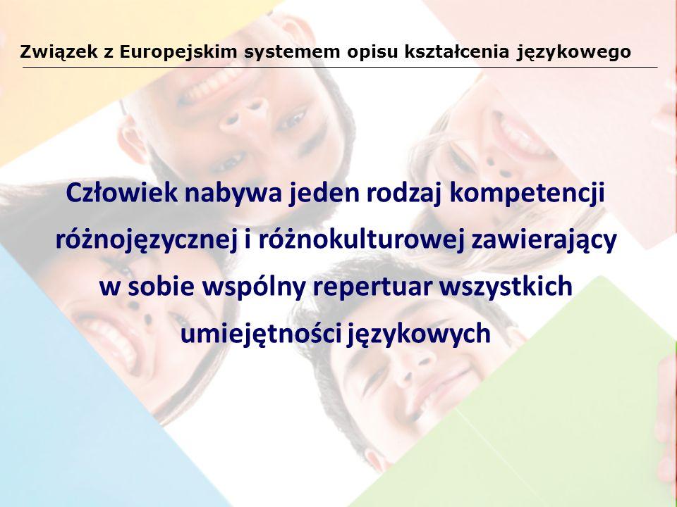 Związek z Europejskim systemem opisu kształcenia językowego Człowiek nabywa jeden rodzaj kompetencji różnojęzycznej i różnokulturowej zawierający w so