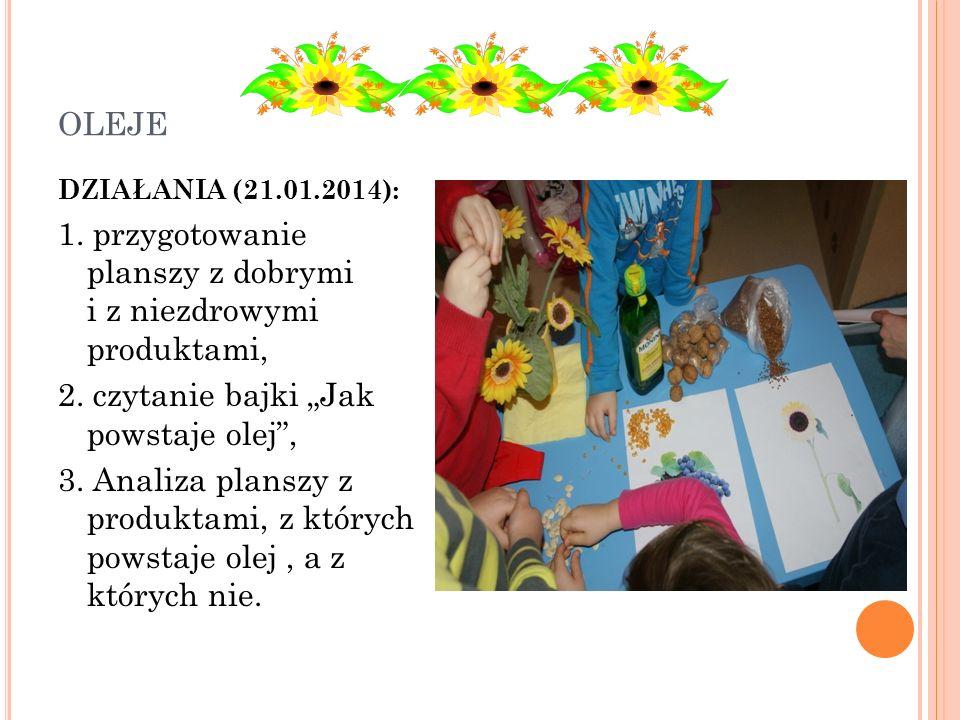 OLEJE DZIAŁANIA (21.01.2014): 1. przygotowanie planszy z dobrymi i z niezdrowymi produktami, 2. czytanie bajki Jak powstaje olej, 3. Analiza planszy z