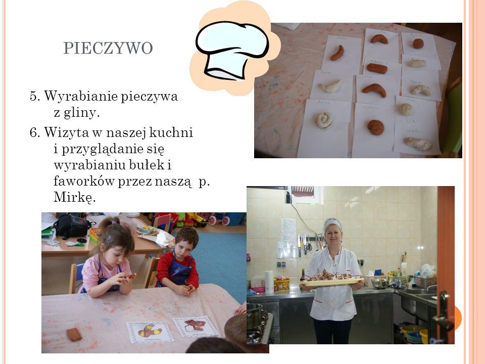 PIECZYWO 5. Wyrabianie pieczywa z gliny. 6. Wizyta w naszej kuchni i przyglądanie się wyrabianiu bułek i faworków przez naszą p. Mirkę.