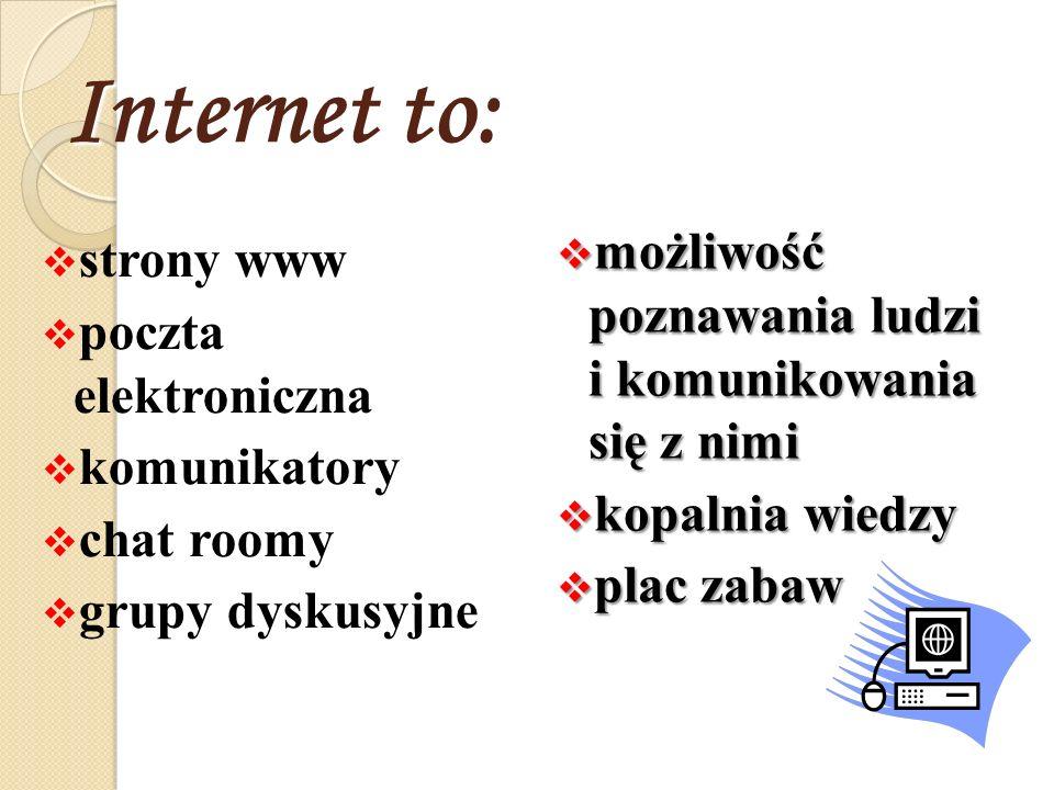Internet to: strony www poczta elektroniczna komunikatory chat roomy grupy dyskusyjne możliwość poznawania ludzi i komunikowania się z nimi możliwość poznawania ludzi i komunikowania się z nimi kopalnia wiedzy kopalnia wiedzy plac zabaw plac zabaw