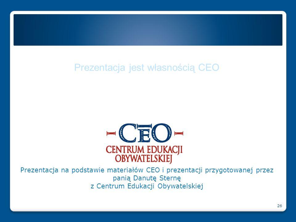 Prezentacja jest własnością CEO Prezentacja na podstawie materiałów CEO i prezentacji przygotowanej przez panią Danutę Sternę z Centrum Edukacji Obywa