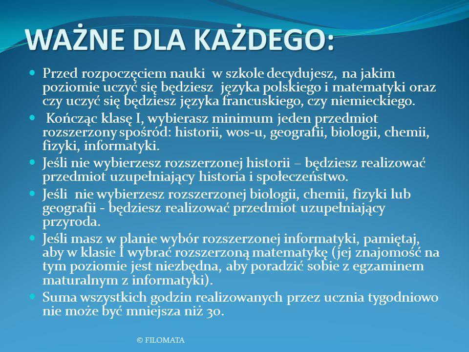 WAŻNE DLA KAŻDEGO: Przed rozpoczęciem nauki w szkole decydujesz, na jakim poziomie uczyć się będziesz języka polskiego i matematyki oraz czy uczyć się