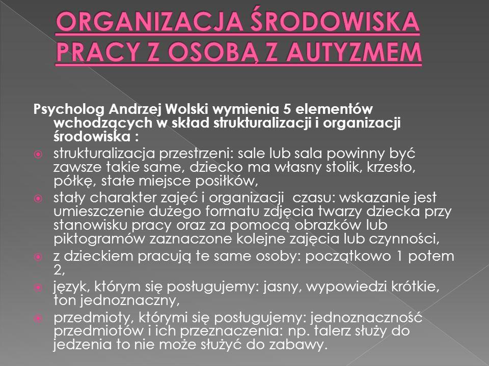 Psycholog Andrzej Wolski wymienia 5 elementów wchodzących w skład strukturalizacji i organizacji środowiska : strukturalizacja przestrzeni: sale lub s
