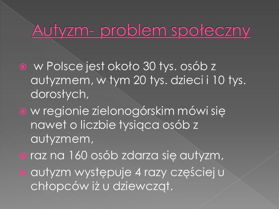w Polsce jest około 30 tys. osób z autyzmem, w tym 20 tys. dzieci i 10 tys. dorosłych, w regionie zielonogórskim mówi się nawet o liczbie tysiąca osób