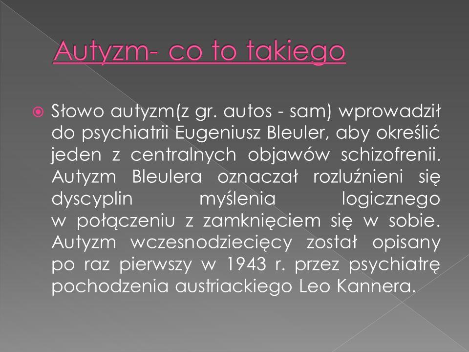 Słowo autyzm(z gr. autos - sam) wprowadził do psychiatrii Eugeniusz Bleuler, aby określić jeden z centralnych objawów schizofrenii. Autyzm Bleulera oz