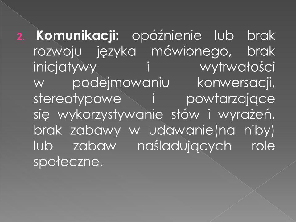 2. Komunikacji: opóźnienie lub brak rozwoju języka mówionego, brak inicjatywy i wytrwałości w podejmowaniu konwersacji, stereotypowe i powtarzające si