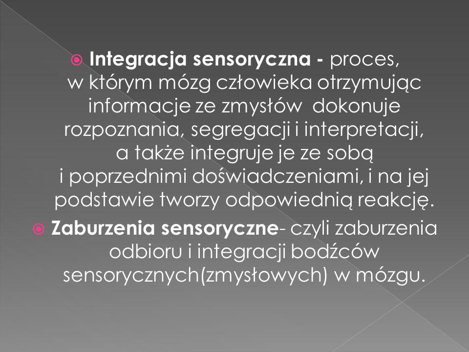 Integracja sensoryczna - proces, w którym mózg człowieka otrzymując informacje ze zmysłów dokonuje rozpoznania, segregacji i interpretacji, a także in
