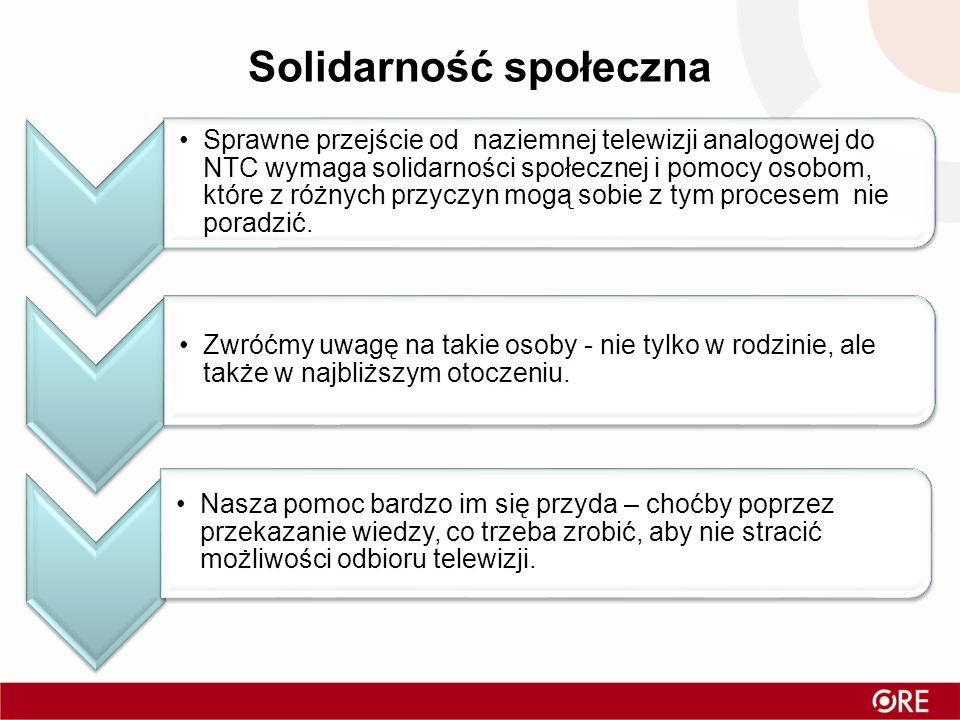 Solidarność społeczna Sprawne przejście od naziemnej telewizji analogowej do NTC wymaga solidarności społecznej i pomocy osobom, które z różnych przyc