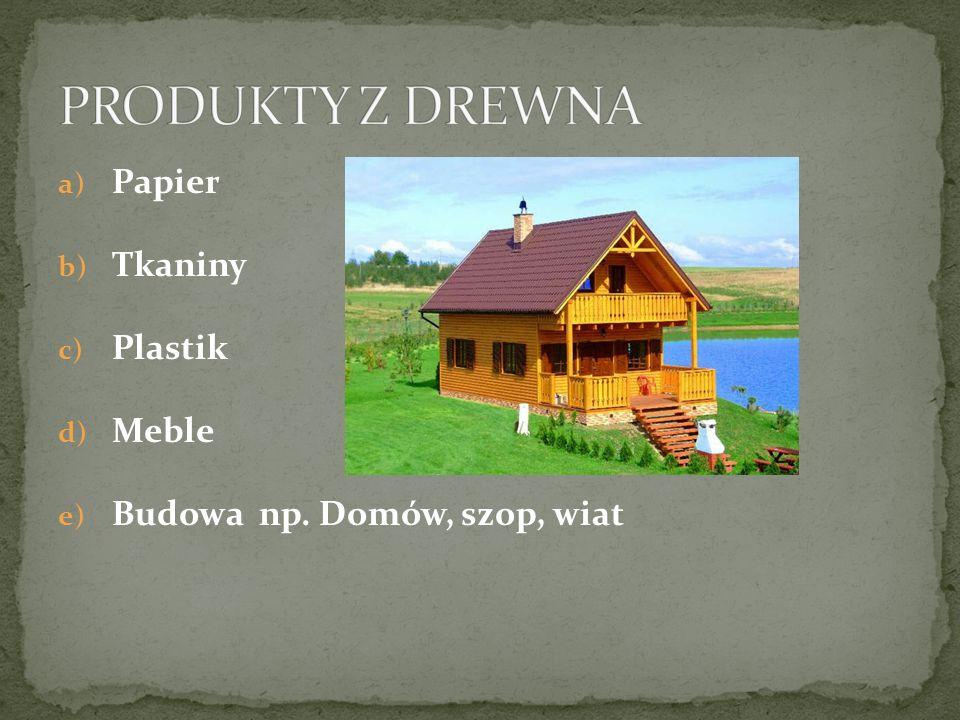 a) Papier b) Tkaniny c) Plastik d) Meble e) Budowa np. Domów, szop, wiat