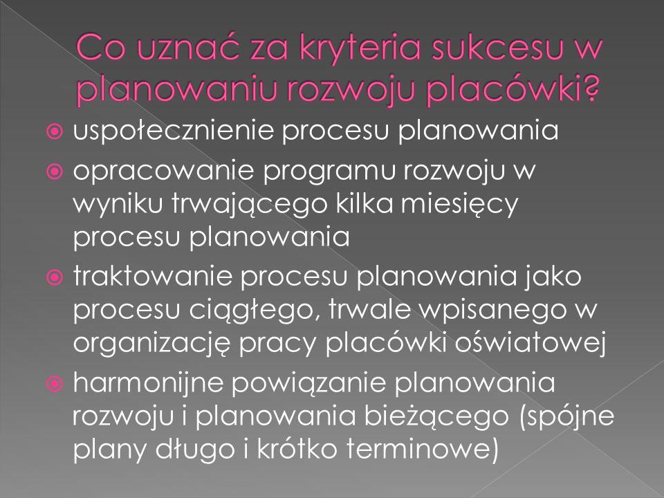 uspołecznienie procesu planowania opracowanie programu rozwoju w wyniku trwającego kilka miesięcy procesu planowania traktowanie procesu planowania jako procesu ciągłego, trwale wpisanego w organizację pracy placówki oświatowej harmonijne powiązanie planowania rozwoju i planowania bieżącego (spójne plany długo i krótko terminowe)