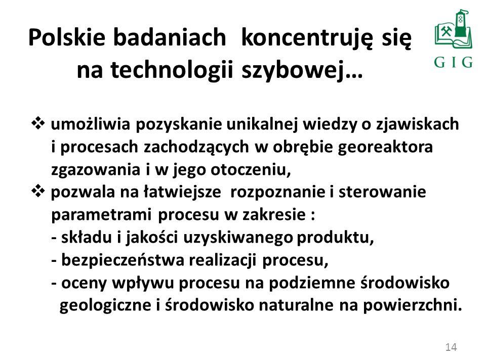 14 Polskie badaniach koncentruję się na technologii szybowej… umożliwia pozyskanie unikalnej wiedzy o zjawiskach i procesach zachodzących w obrębie ge