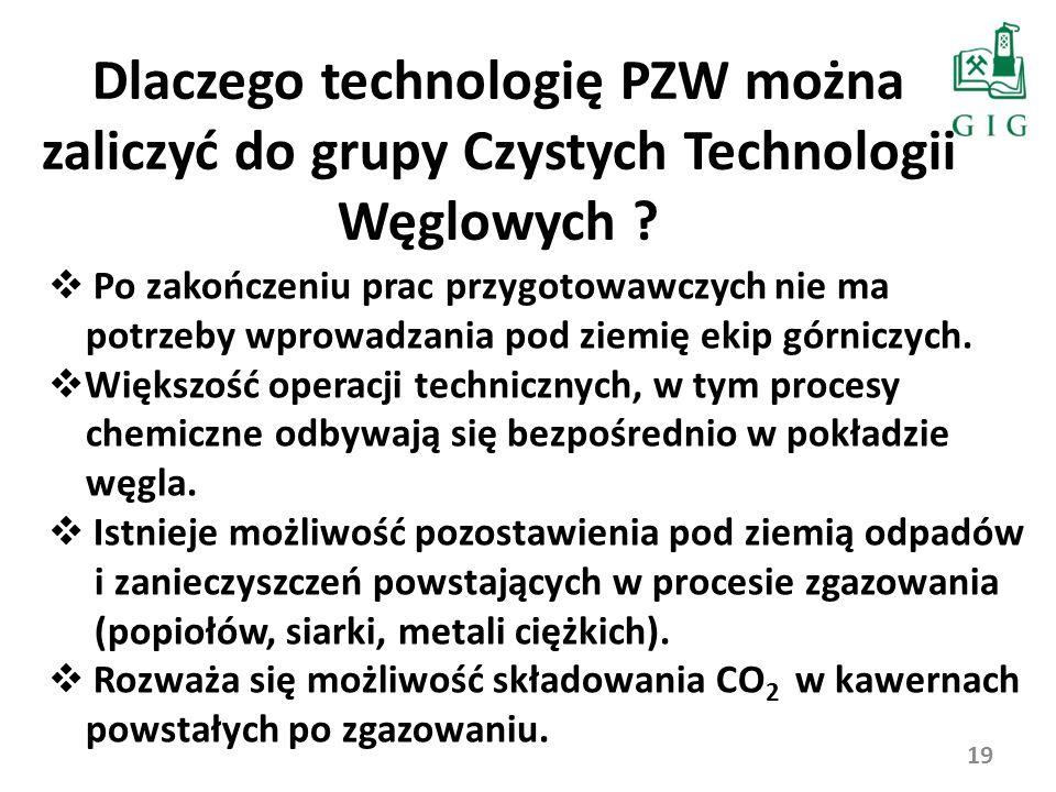 Dlaczego technologię PZW można zaliczyć do grupy Czystych Technologii Węglowych ? 19 Po zakończeniu prac przygotowawczych nie ma potrzeby wprowadzania