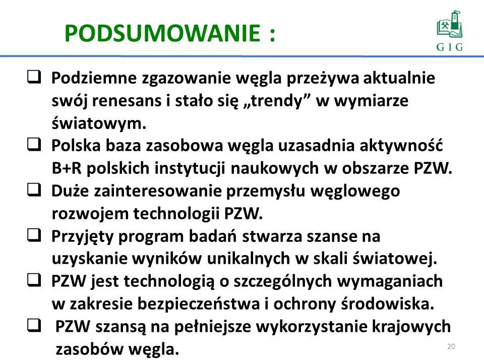 20 PODSUMOWANIE : Podziemne zgazowanie węgla przeżywa aktualnie swój renesans i stało się trendy w wymiarze światowym. Polska baza zasobowa węgla uzas