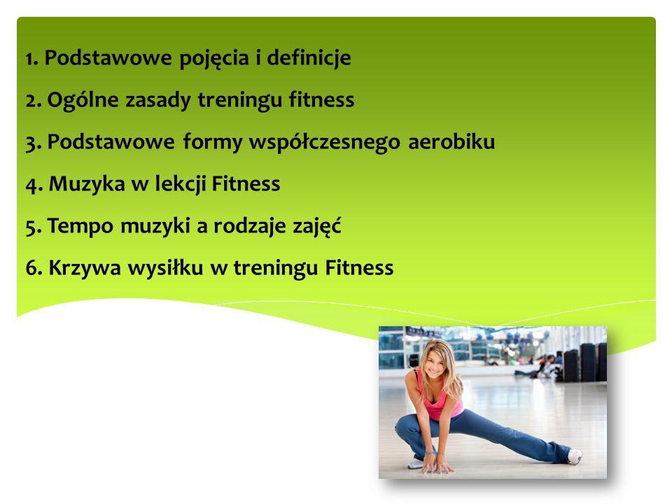 1. Podstawowe pojęcia i definicje 2. Ogólne zasady treningu fitness 3. Podstawowe formy współczesnego aerobiku 4. Muzyka w lekcji Fitness 5. Tempo muz