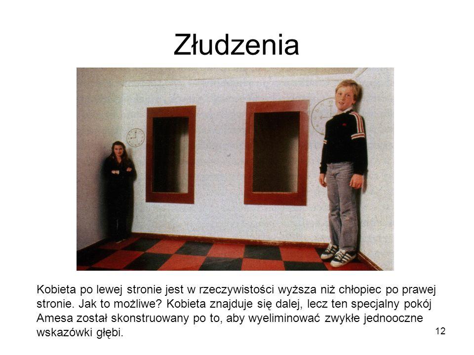 12 Złudzenia Kobieta po lewej stronie jest w rzeczywistości wyższa niż chłopiec po prawej stronie. Jak to możliwe? Kobieta znajduje się dalej, lecz te