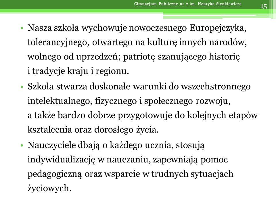 Nasza szkoła wychowuje nowoczesnego Europejczyka, tolerancyjnego, otwartego na kulturę innych narodów, wolnego od uprzedzeń; patriotę szanującego hist