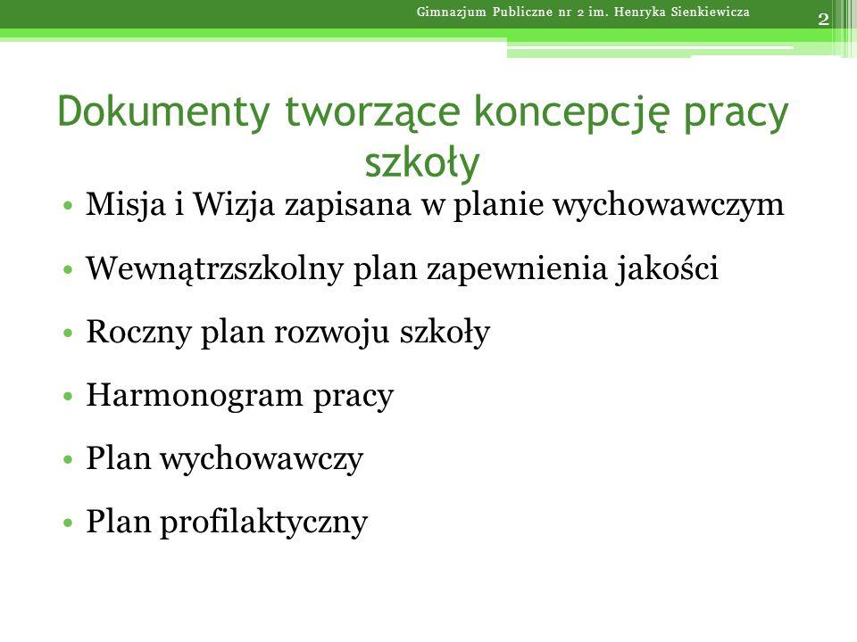 Cele wewnątrzszkolnego programu zapewnienia jakości Gimnazjum Publiczne nr 2 im.