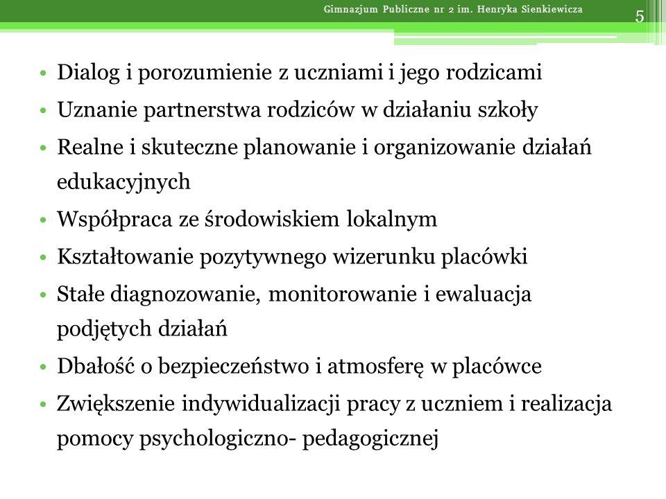 Priorytety wychowawcze 26 Gimnazjum Publiczne nr 2 im. Henryka Sienkiewicza