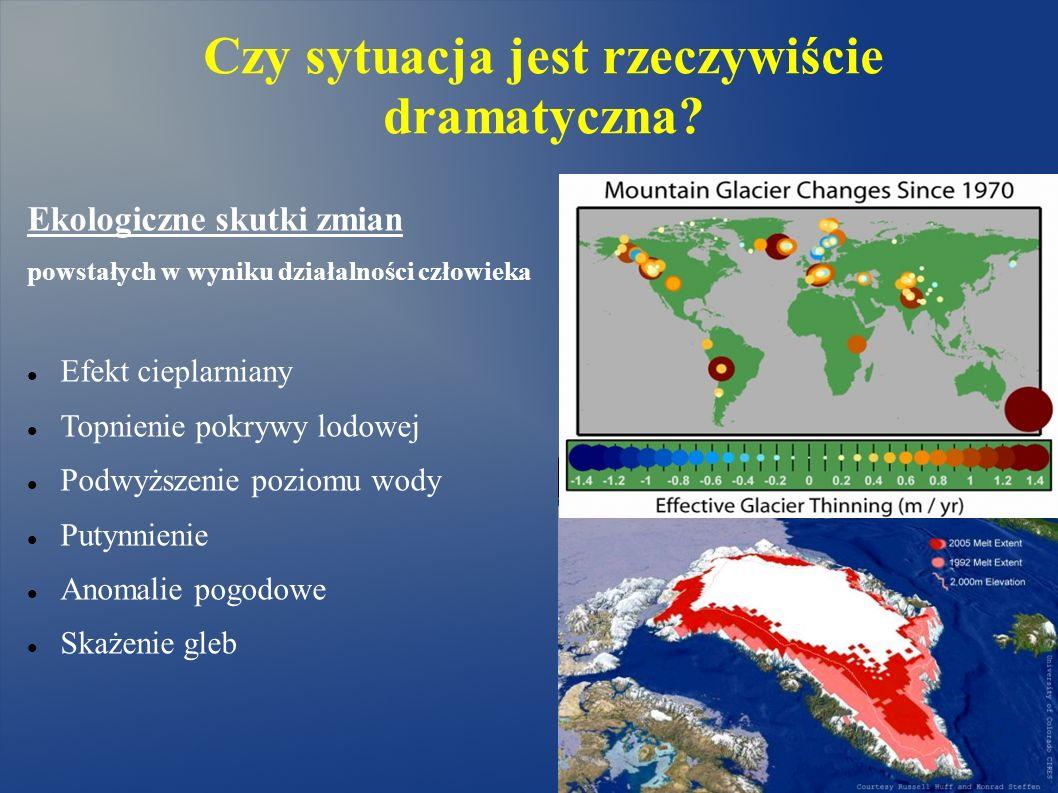 Czy sytuacja jest rzeczywiście dramatyczna? Ekologiczne skutki zmian powstałych w wyniku działalności człowieka Efekt cieplarniany Topnienie pokrywy l