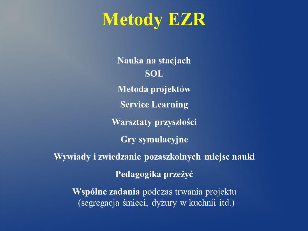Metody EZR Nauka na stacjach SOL Metoda projektów Service Learning Warsztaty przyszłości Gry symulacyjne Wywiady i zwiedzanie pozaszkolnych miejsc nau
