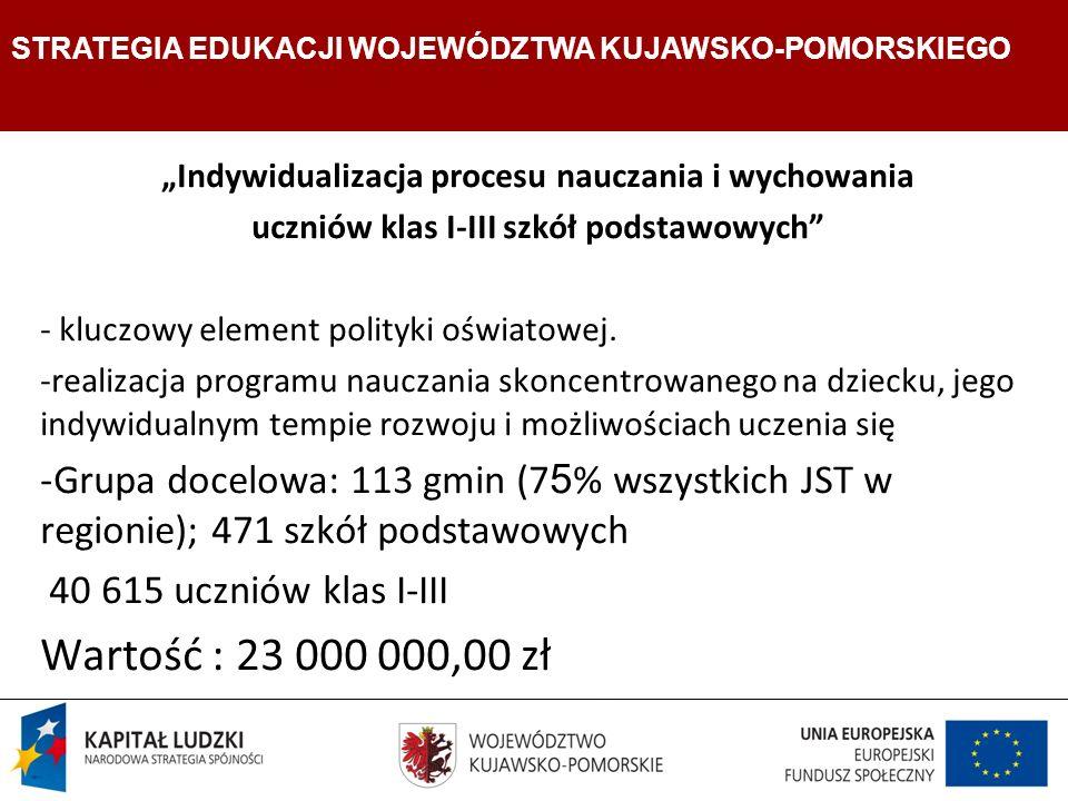 Strategia Edukacji Województwa Kujawsko- Pomorskiego Indywidualizacja procesu nauczania i wychowania uczniów klas I-III szkół podstawowych - kluczowy element polityki oświatowej.