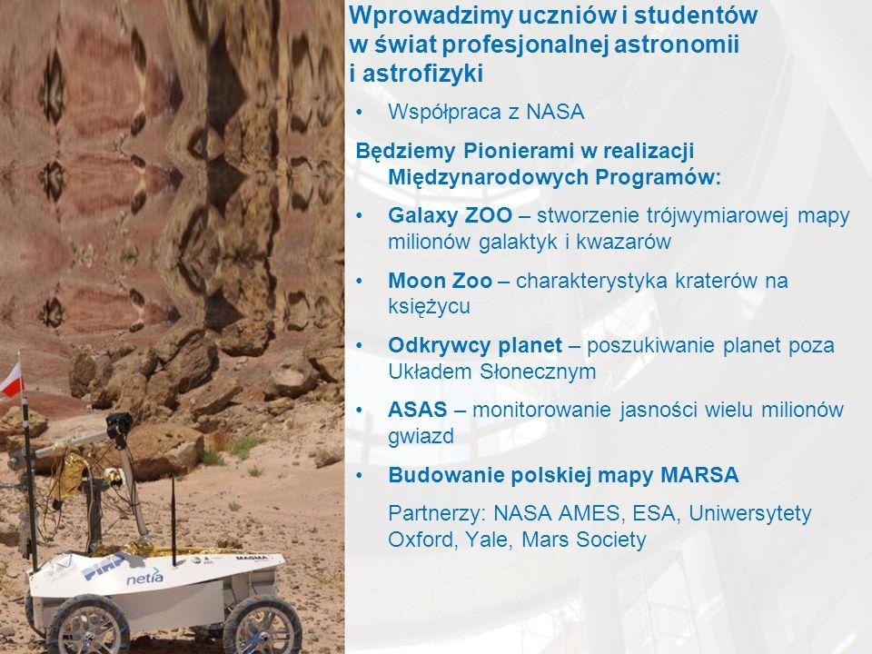 Wprowadzimy uczniów i studentów w świat profesjonalnej astronomii i astrofizyki Współpraca z NASA Będziemy Pionierami w realizacji Międzynarodowych Programów: Galaxy ZOO – stworzenie trójwymiarowej mapy milionów galaktyk i kwazarów Moon Zoo – charakterystyka kraterów na księżycu Odkrywcy planet – poszukiwanie planet poza Układem Słonecznym ASAS – monitorowanie jasności wielu milionów gwiazd Budowanie polskiej mapy MARSA Partnerzy: NASA AMES, ESA, Uniwersytety Oxford, Yale, Mars Society