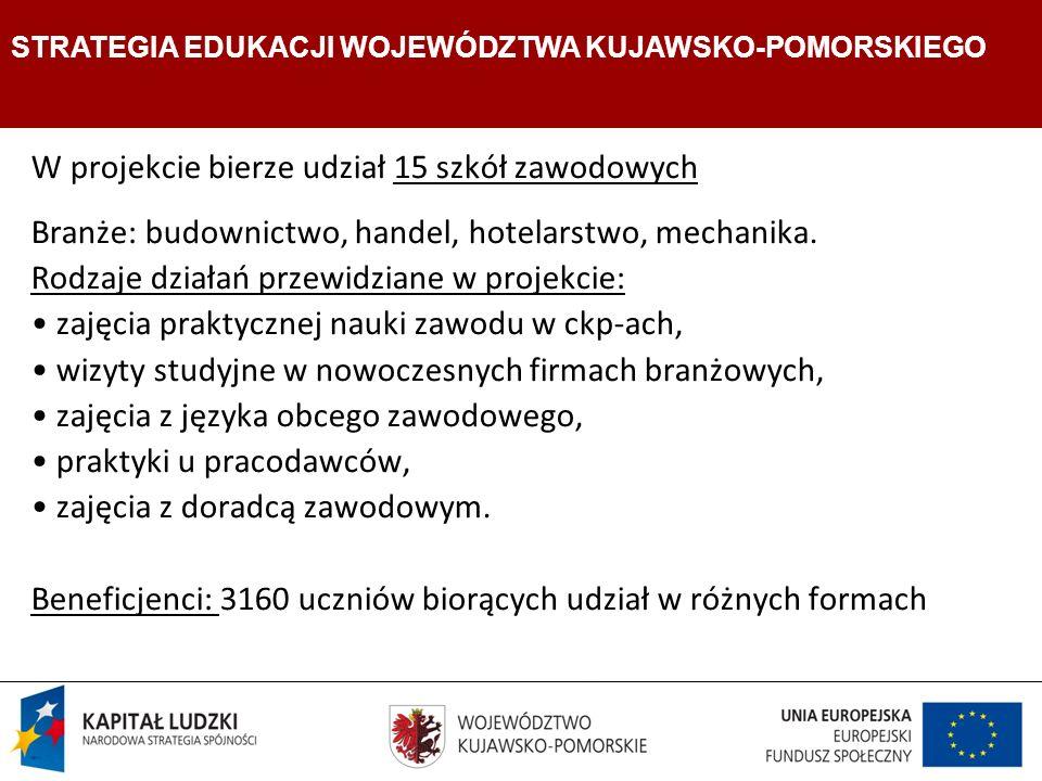 Strategia Edukacji Województwa Kujawsko- Pomorskiego W projekcie bierze udział 15 szkół zawodowych Branże: budownictwo, handel, hotelarstwo, mechanika.