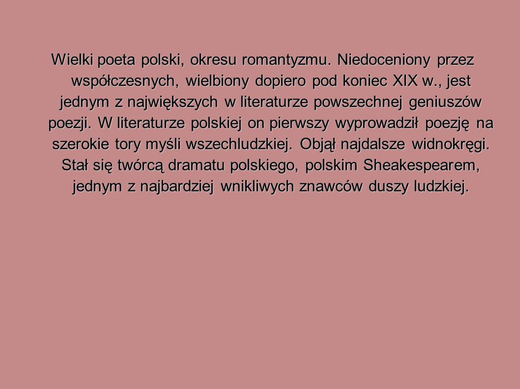 Wielki poeta polski, okresu romantyzmu. Niedoceniony przez współczesnych, wielbiony dopiero pod koniec XIX w., jest jednym z największych w literaturz