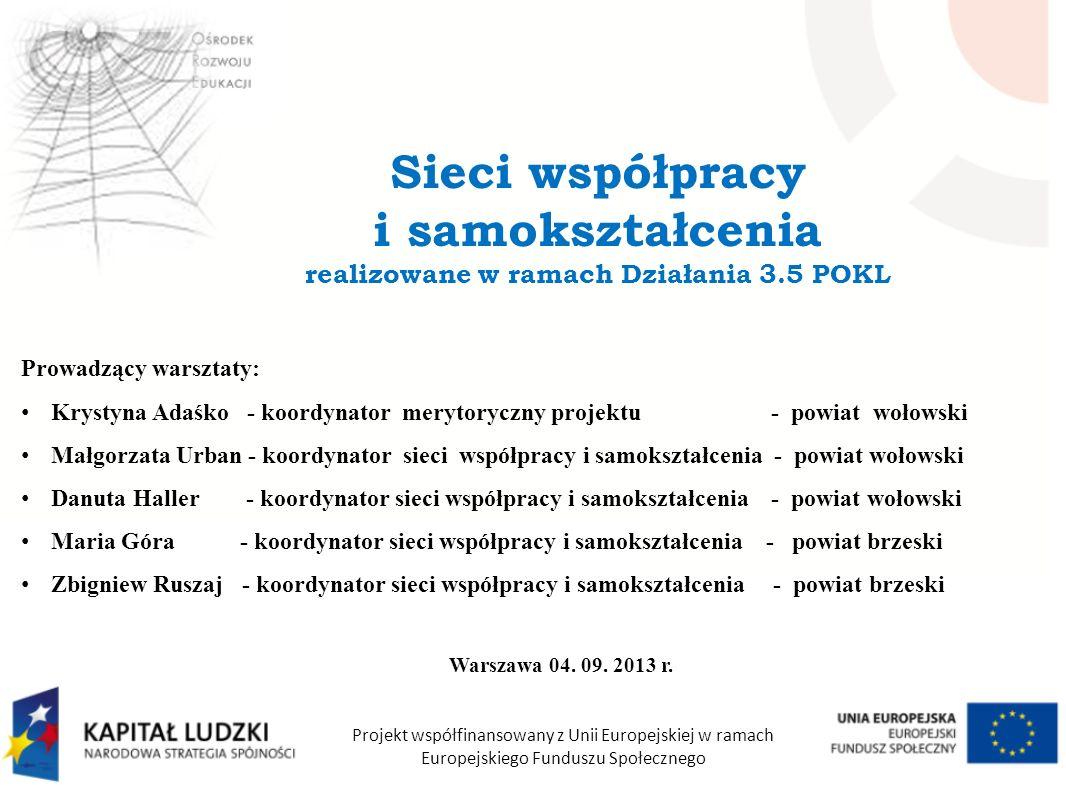 Prowadzący warsztaty: Krystyna Adaśko - koordynator merytoryczny projektu - powiat wołowski Małgorzata Urban - koordynator sieci współpracy i samokszt