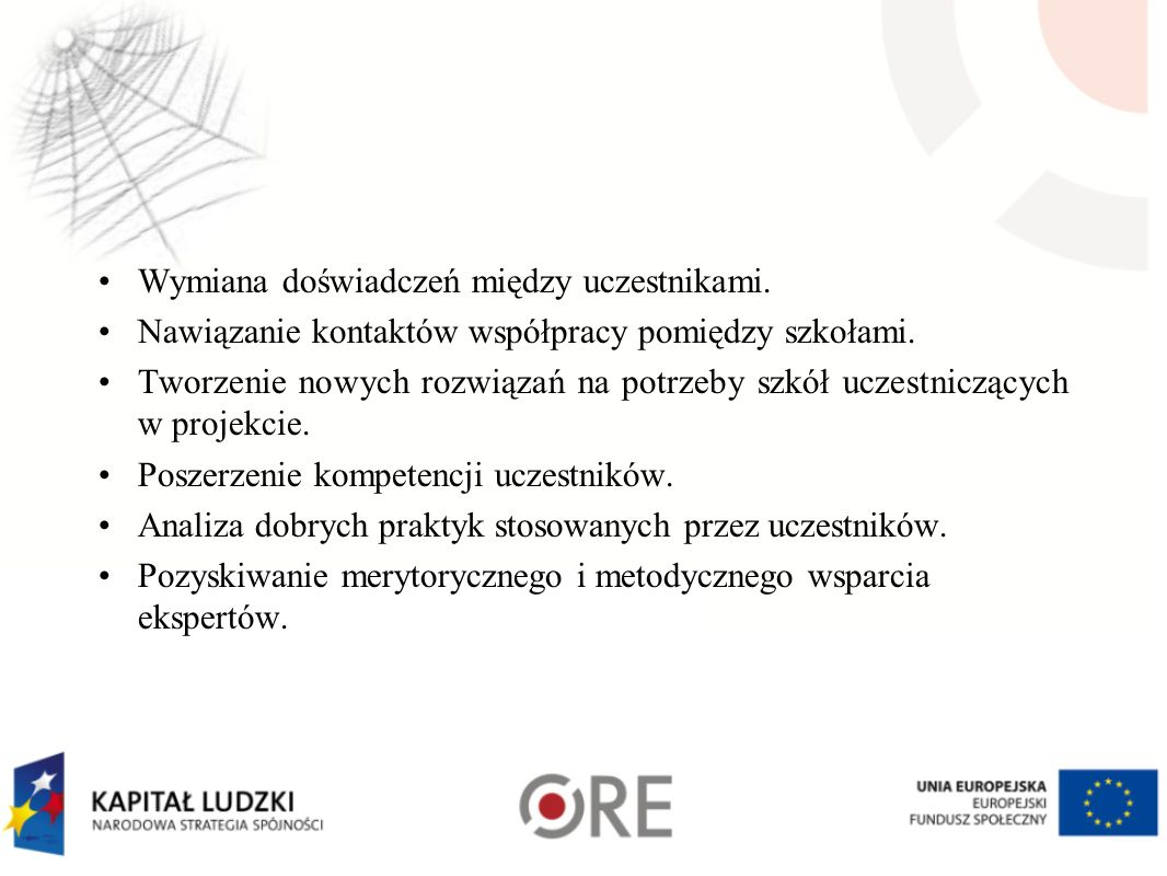 Wymiana doświadczeń między uczestnikami.Nawiązanie kontaktów współpracy pomiędzy szkołami.