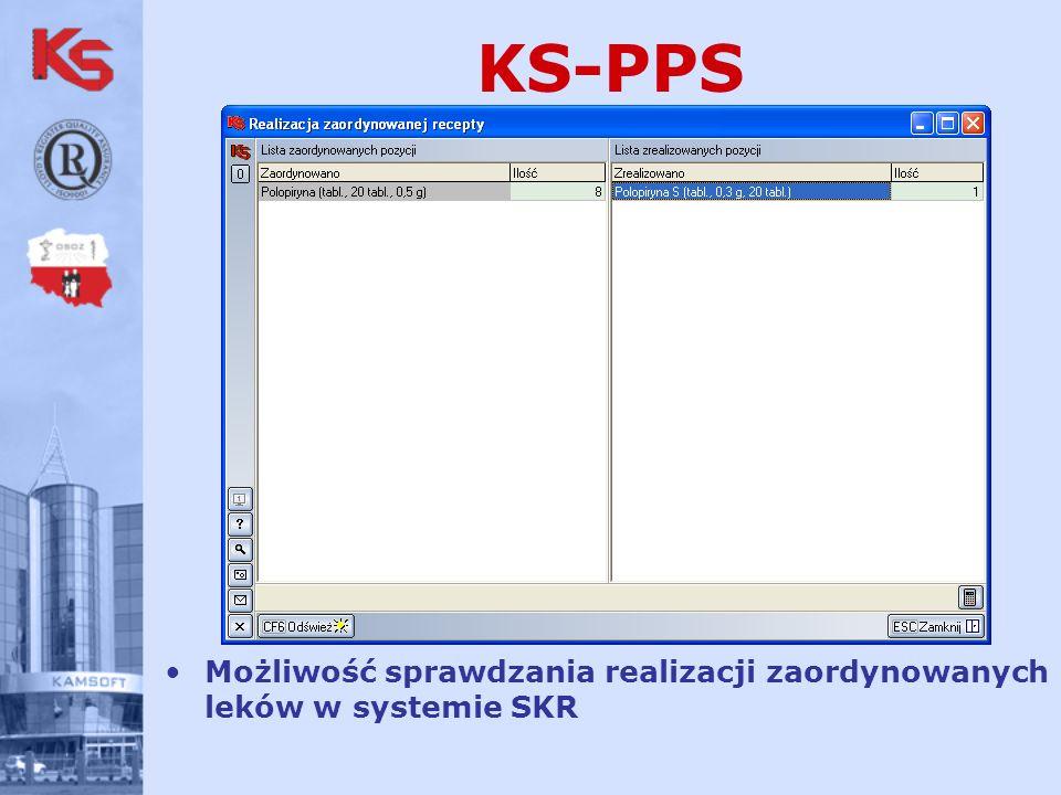 KS-PPS Możliwość sprawdzania realizacji zaordynowanych leków w systemie SKR
