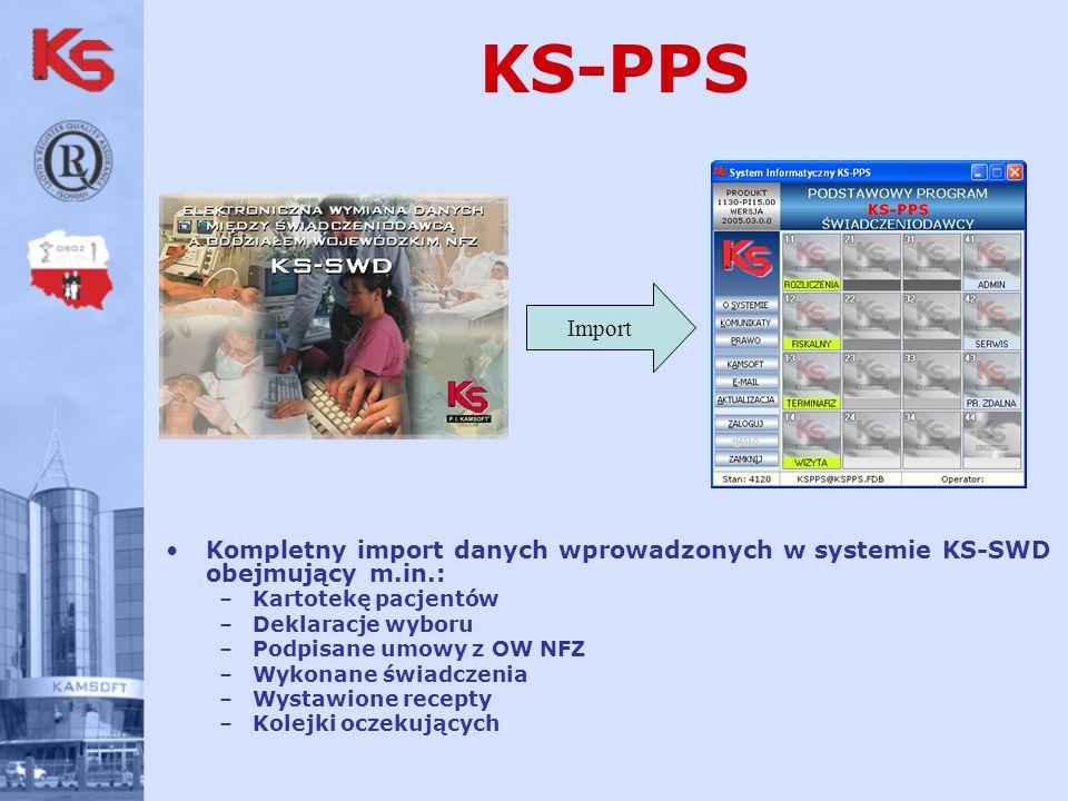 KS-PPS Kompletny import danych wprowadzonych w systemie KS-SWD obejmujący m.in.: –Kartotekę pacjentów –Deklaracje wyboru –Podpisane umowy z OW NFZ –Wykonane świadczenia –Wystawione recepty –Kolejki oczekujących Import