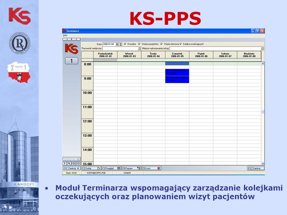 KS-PPS Moduł Terminarza wspomagający zarządzanie kolejkami oczekujących oraz planowaniem wizyt pacjentów