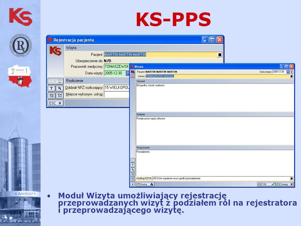 KS-PPS Moduł Wizyta umożliwiający rejestrację przeprowadzanych wizyt z podziałem ról na rejestratora i przeprowadzającego wizytę.