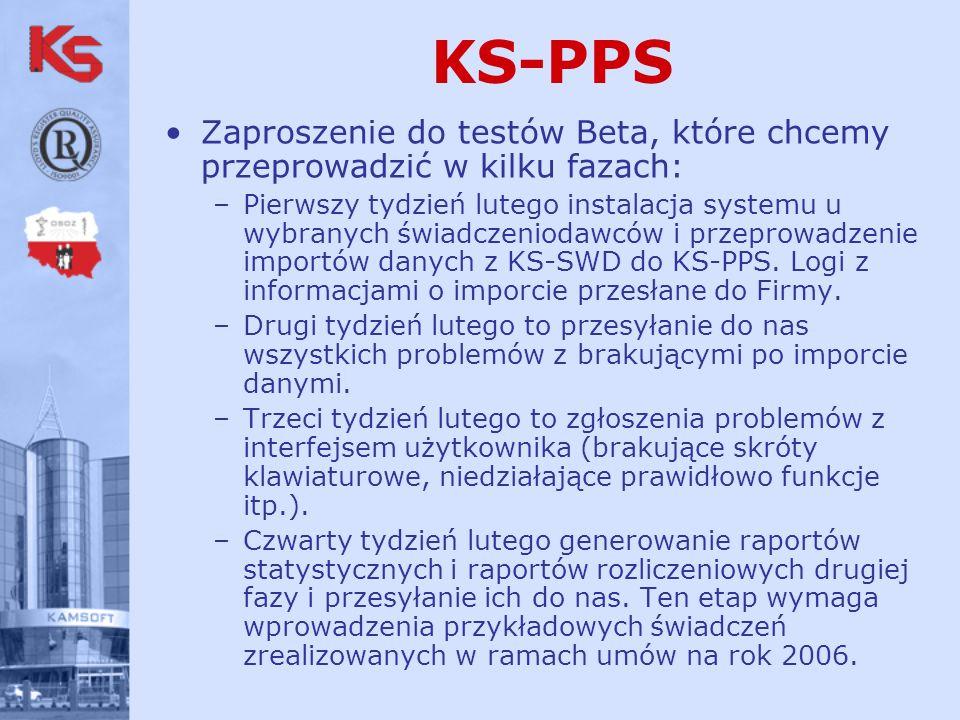 Zaproszenie do testów Beta, które chcemy przeprowadzić w kilku fazach: –Pierwszy tydzień lutego instalacja systemu u wybranych świadczeniodawców i przeprowadzenie importów danych z KS-SWD do KS-PPS.