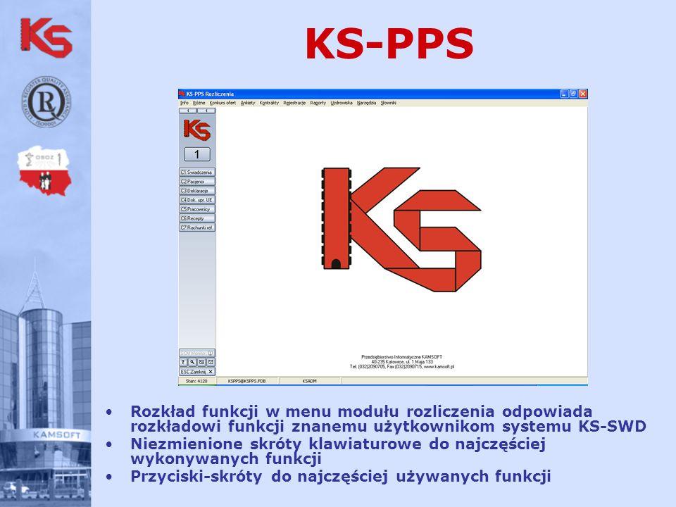 KS-PPS Rozkład funkcji w menu modułu rozliczenia odpowiada rozkładowi funkcji znanemu użytkownikom systemu KS-SWD Niezmienione skróty klawiaturowe do najczęściej wykonywanych funkcji Przyciski-skróty do najczęściej używanych funkcji