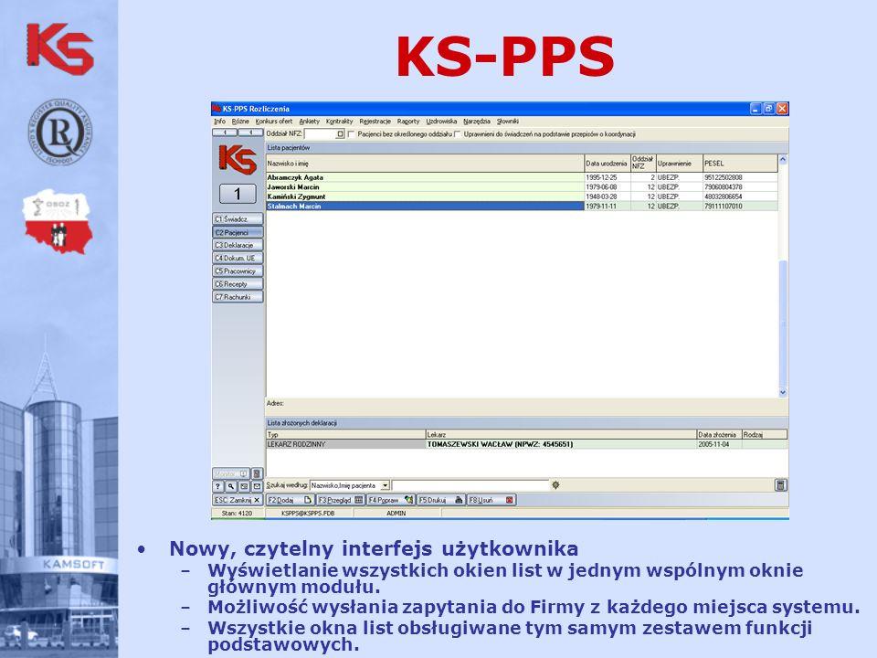 KS-PPS Nowy, czytelny interfejs użytkownika –Wyświetlanie wszystkich okien list w jednym wspólnym oknie głównym modułu.